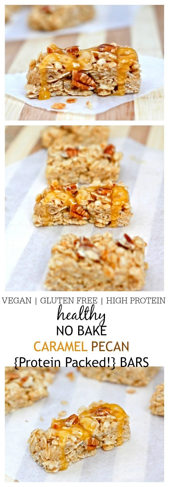 Healthy No Bake Caramel Pecan Bars- Healthy No Bake Caramel Pecan Bars which take less than 10 minutes to whip up! These super simple bars are vegan, gluten free, high protein and very low in sugar- Grab this sensible snack! @thebigmansworld -thebigmansworld.com