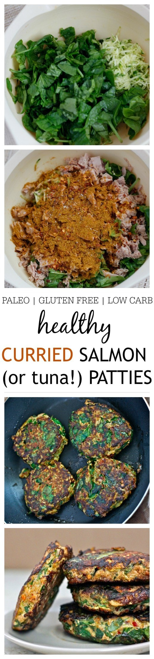 Healthy {Paleo} Curried Salmon (or tuna!) Patties- Just ten minutes is all you'll need to whip up these Curried Salmon (or tuna!) patties- No fancy ingredients and chock full of veggies, these patties are paleo, gluten free, grain free and low carb- You'd never believe these beauties started out from a can!  @thebigmansworld -thebigmansworld.com