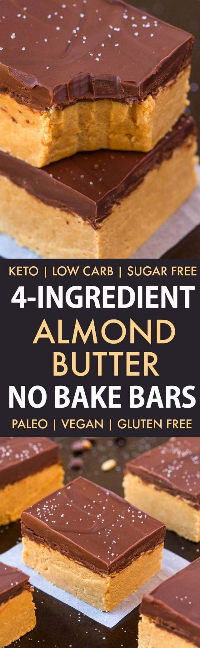 4-Ingredient No Bake Almond Butter Bars (Low Carb, Paleo, Vegan, Keto, Sugar Free, Gluten Free)- Easy, healthy and seriously addictive protein packed almond butter bars using just 4 ingredients and needing 5 minutes. | #keto #ketodessert #almondbutter #dairyfree #healthy #nobake | Recipe on thebigmansworld.com