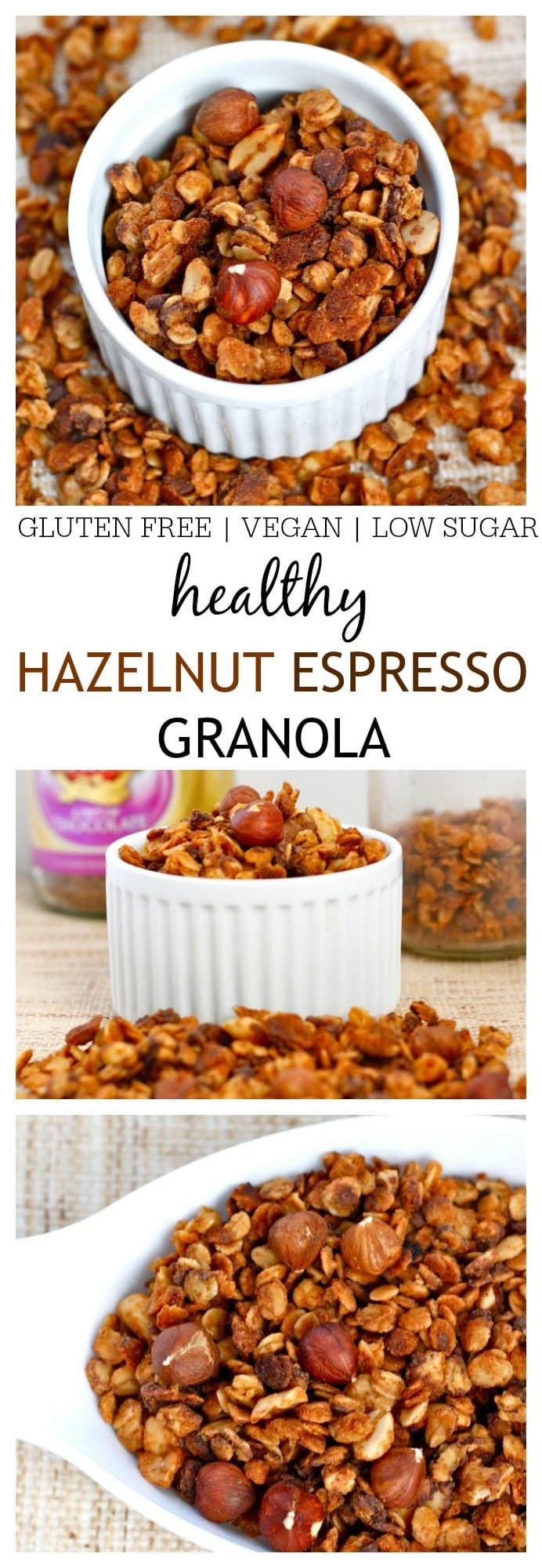 Hazelnut Espresso Granola- A delicious, healthy and nutritious granola recipe which has hints of espresso thanks to ground coffee added in the baking process! This granola is perfect for snacking or for breakfast and is gluten free, refined sugar free and has a vegan version! @thebigmansworld -thebigmansworld.com