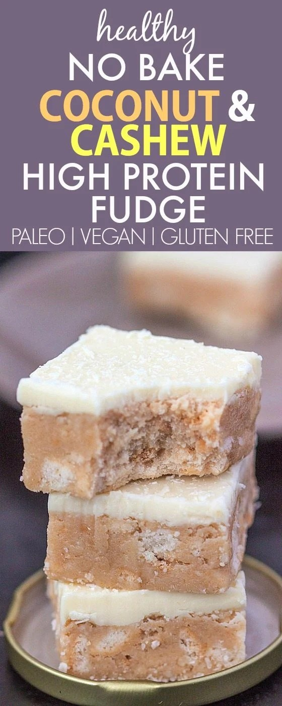 Healthy No Bake Cashew Coconut fudge which is secretly healthy and packed with protein- Dessert, snack or an anytime treat! {vegan, gluten free, paleo recipe}- thebigmansworld.com