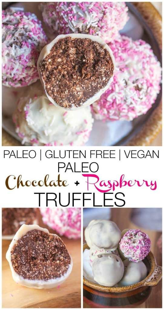 Paleo Chocolate and Raspberry Truffles- These #healthy truffles are also #vegan and #glutenfree! Perfect for Valentine's Day! -thebigmansworld.com