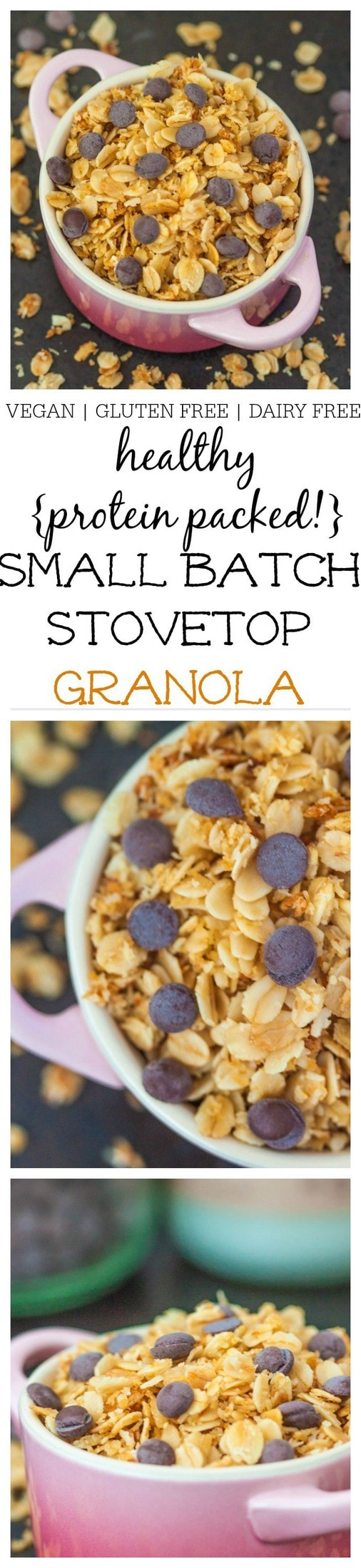 Healthy Small Batch Stovetop Granola- A delicious vegan, dairy free and gluten free granola made over the stove which takes less than 10 minutes and is single serving! High in protein, low in added sugar and perfect on top of a dairy free yogurt or milk for a balanced meal @thebigmansworld - thebigmansworld.com