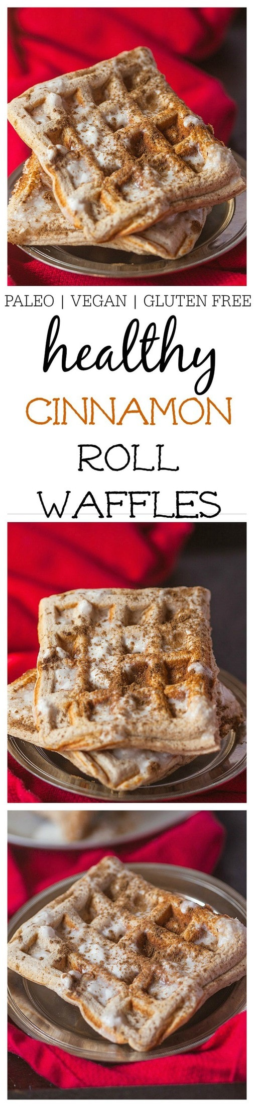 Healthy Cinnamon Roll Waffles- Healthy Cinnamon Roll Waffles which taste like a fresh, hot cinnamon roll minus the nasties! Sugar free, high protein and options for those following a paleo, gluten free or vegan dietary lifestyle! @thebigmansworld - thebigmansworld.com