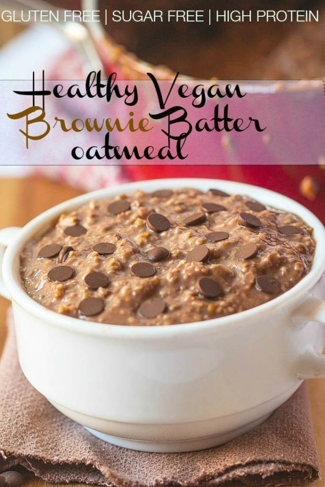 Healthy Vegan Brownie Batter #Oatmeal- These oats have the texture and taste of brownie batter and require prep the night before for breakfast ready for you the next day- #vegan #glutenfree #sugarfree and #highprotein! @thebigmansworld.com