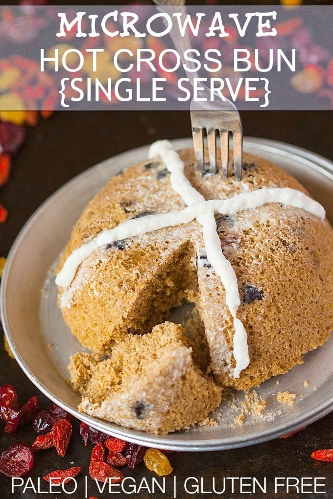 Microwave Hot Cross Bun- A delicious SINGLE SERVE recipe for a hot cross bun perfect for Easter and ready in 3 minutes! Paleo, Gluten Free, Dairy Free, Sugar Free and with a vegan option! @thebigmansworld -thebigmansworld.com