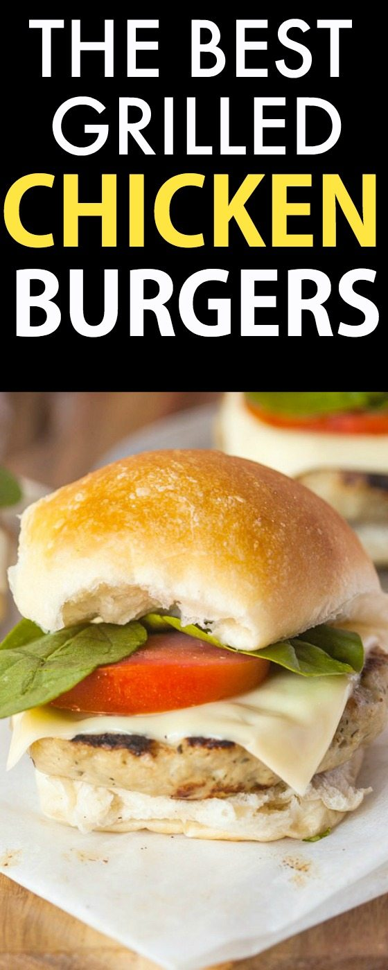 The BEST Grilled Chicken Burgers EVER- The homemade patties are moist, juicy and with NO fillers or grains! {gluten free, paleo, grain free recipe}- thebigmansworld.com