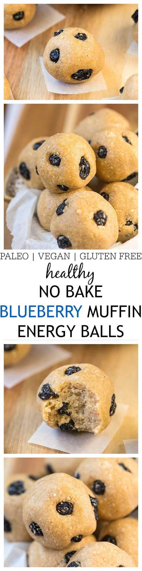Healthy No Bake Blueberry Muffin Energy Balls- These no bake energy balls taste like a blueberry muffin minus the oven, added fats and sugars! Just five minutes is all you'll need to whip up these easy, healthy delicious snacks- Vegan, gluten free, refined sugar free and a paleo option! @thebigmansworld -thebigmansworld.com