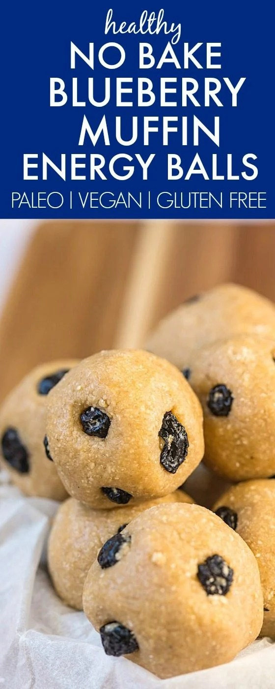 Healthy No Bake Blueberry Muffin Energy Balls made with wholesome ingredients and NO fancy gadgets- Easy, delicious and the perfect snack! {vegan, gluten free, paleo recipe}- thebigmansworld.com