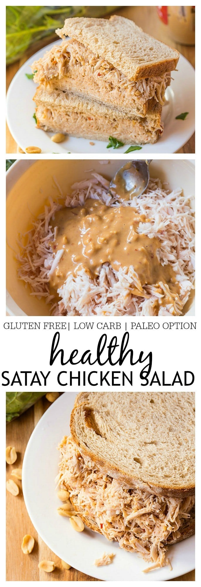 Healthy Satay Chicken Salad- Spruce up your sandwiches, wraps or bowls with this delicious healthy satay chicken salad! Chock full of flavour, this healthy salad combines peanut butter, sweet chilli sauce and liquid aminos to give your standard chicken salad a run for it's money- Gluten Free, low carb and a paleo option!  @thebigmansworld - thebigmansworld.com