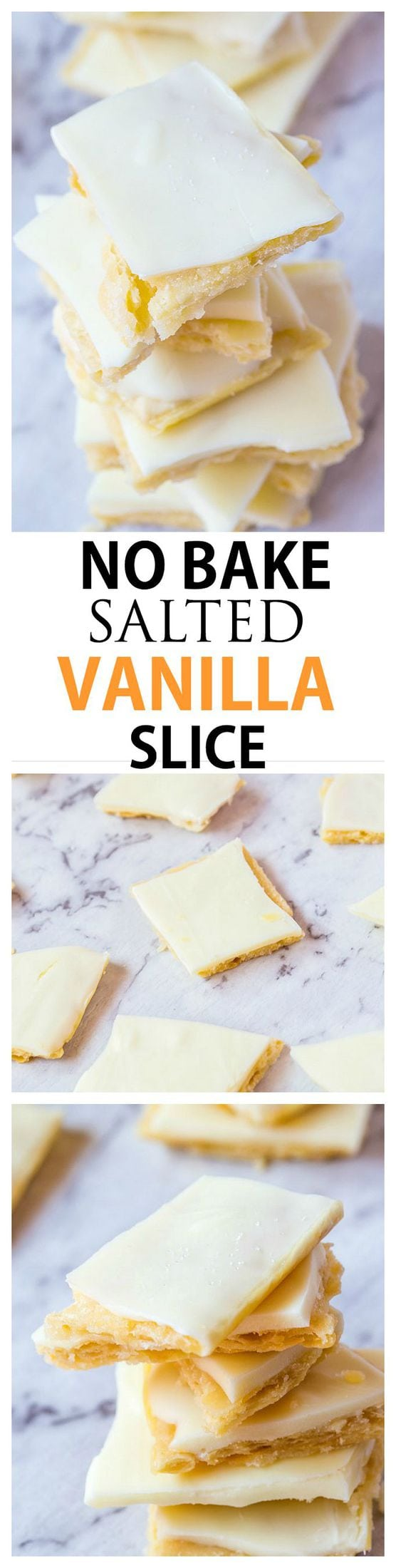 Healthy {3 INGREDIENT} No Bake Salted Vanilla Slice- One recipe. Three ways. This Healthy No Bake Salted Vanilla Slice requires just THREE ingredients to whip up and depending on which method you choose, can be vegan, gluten free and refined sugar free! If all else fails, try the fool proof version!