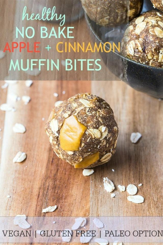 Healthy No Bake Apple Cinnamon Muffin Bites- The taste and texture of a delicious, hearty apple cinnamon muffin minus the baking and added fats and sugars! Just one bowl and ten minutes is all you'll need to make these healthy gluten free and vegan apple cinnamon muffin bites with a paleo option too! @thebigmansworld -thebigmansworld.com