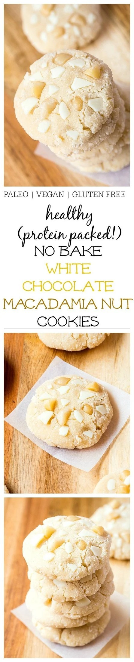 Healthy No Bake White Chocolate Macadamia Nut Cookies- Inspired by Subway's infamous cookies, these healthy white chocolate macadamia nut cookies are fudgy, chewy and require no baking at all! 1 bowl and 10 minutes is all you'll need to whip these beauties up which are paleo, vegan, gluten free, dairy free AND come with a high protein option! @thebigmansworld - thebigmansworld.com