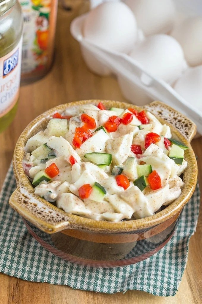 Copycat Trader Joe's Spicy Ranchero Egg White Salad- The perfect high protein snack or salad recipe with a dairy free option!  @thebigmansworld- thebigmansworld.com