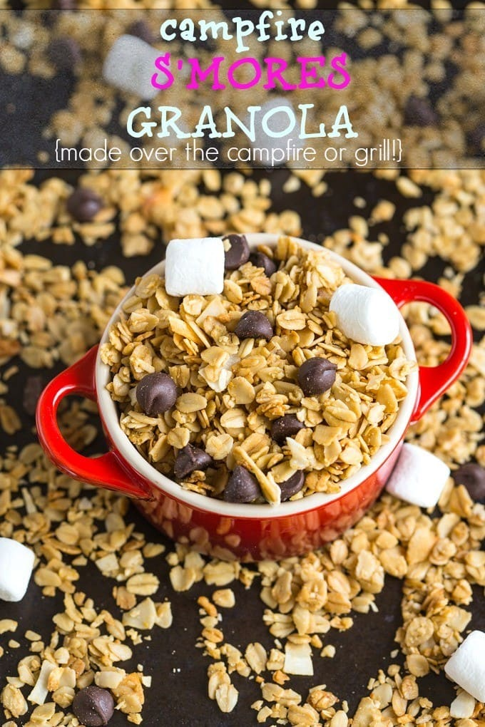 Easy Campfire S'Mores Granola- Can be made over the campfire or on a grill- Vegan, gluten free and allergy friendly- A delicious snack or dessert! -thebigmansworld.com