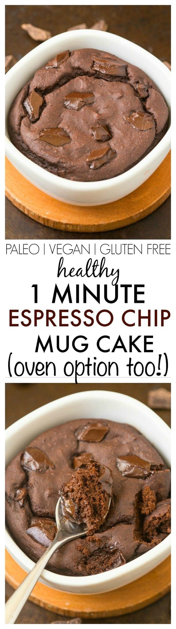 Healthy 1 Minute Espresso Chip Mug Cake- Tasting just like tiramisu, this delicious single serve cake is light, fluffy and has NO butter, NO oil, NO grains and NO sugar- Oven option too! {vegan, gluten free, paleo recipe}- thebigmansworld.com