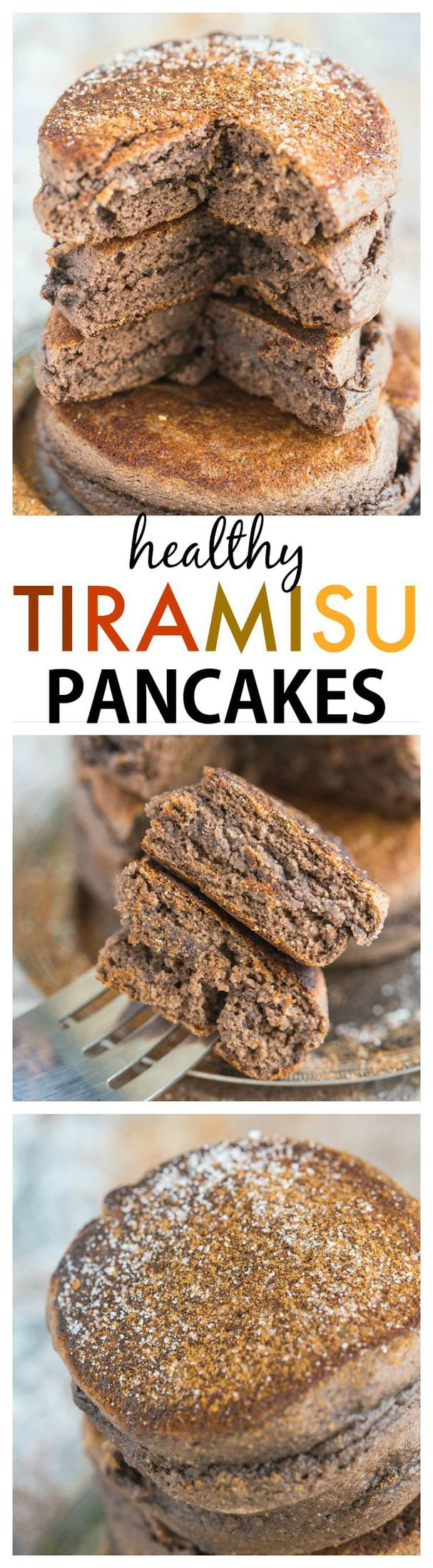 Thick and fluffy tiramisu flavoured pancakes which are actually healthy for you! Quick, easy and delicious, these pancakes are also paleo, gluten free, dairy free and come with a tested vegan option!