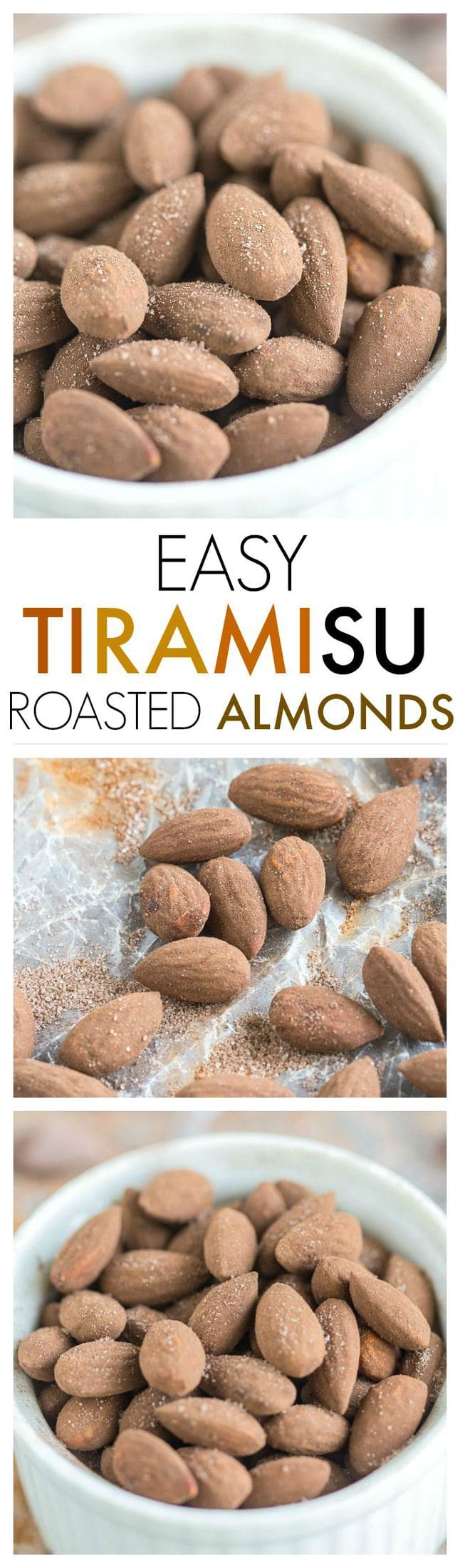 Tiramisu Roasted Almonds- Quick, easy and so darn delicious, you'd never guess these tiramisu roasted almonds were healthy too! {gluten free, vegan, paleo + sugar free option!} #coffee #tiramisu #almonds