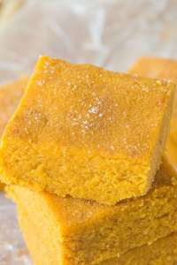 Healthy Three Ingredient No Bake Pumpkin Fudge- Delicious, soft and takes less than FIVE minutes to whip up- It's low fat, high fiber and very low in sugar! {Vegan, gluten free, Paleo friendly}