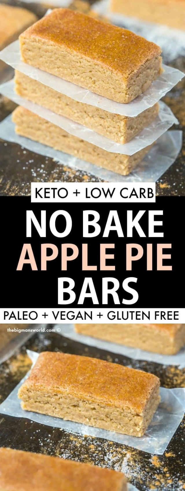 Easy no bake apple pie protein bars that are keto, vegan, paleo, and gluten free