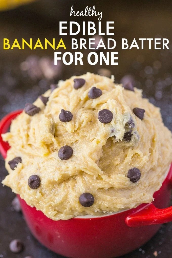 Healthy Edible Banana Bread Batter for one- The taste + texture of classic banana bread batter but SO healthy- This recipe is single serve and packed full of protein and barely any sugar! {vegan, gluten-free, egg-free, paleo options}-