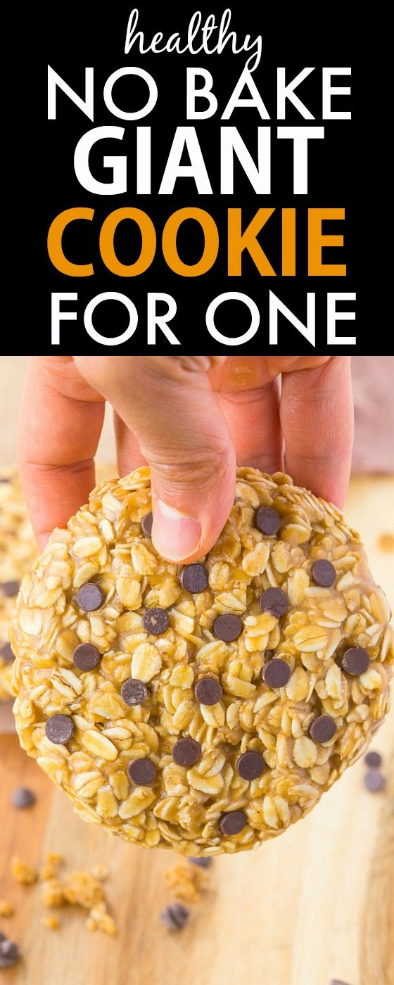 Healthy No Bake Giant Cookie for ONE recipe- Delicious, chewy and portable, these quick and easy cookies have NO butter, oil or flour and are packed full of protein! {vegan, gluten free, refined sugar free}- thebigmansworld.com