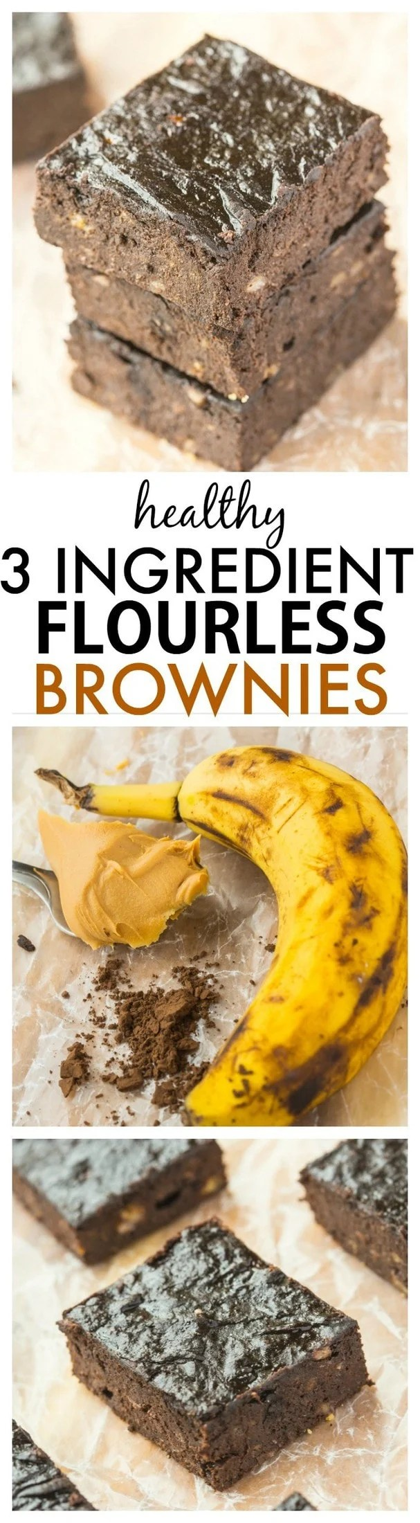Healthy Three Ingredient Flourless Brownies- No butter, eggs or oil in this quick and easy recipe which is ready in minutes- Rich and fudgy yet so healthy too! {vegan, gluten free, paleo, dairy free} -thebigmansworld.com