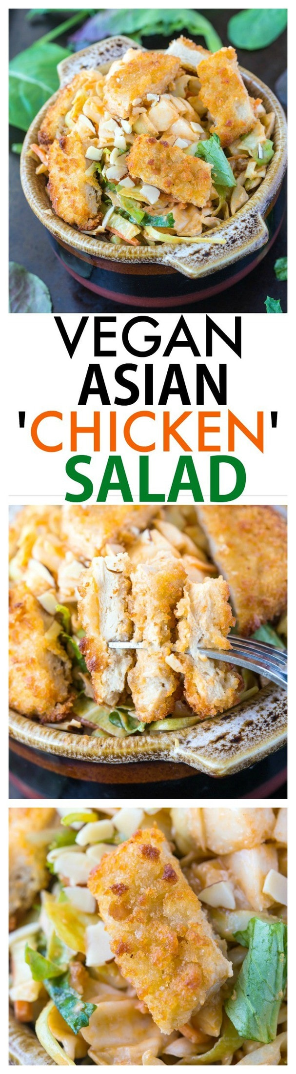 Vegan Asian 'Chicken' Salad- Quick, easy and delicious, this 'chicken' salad will sway even the biggest carnivore- The dressing is AMAZING! {vegan, gluten free}