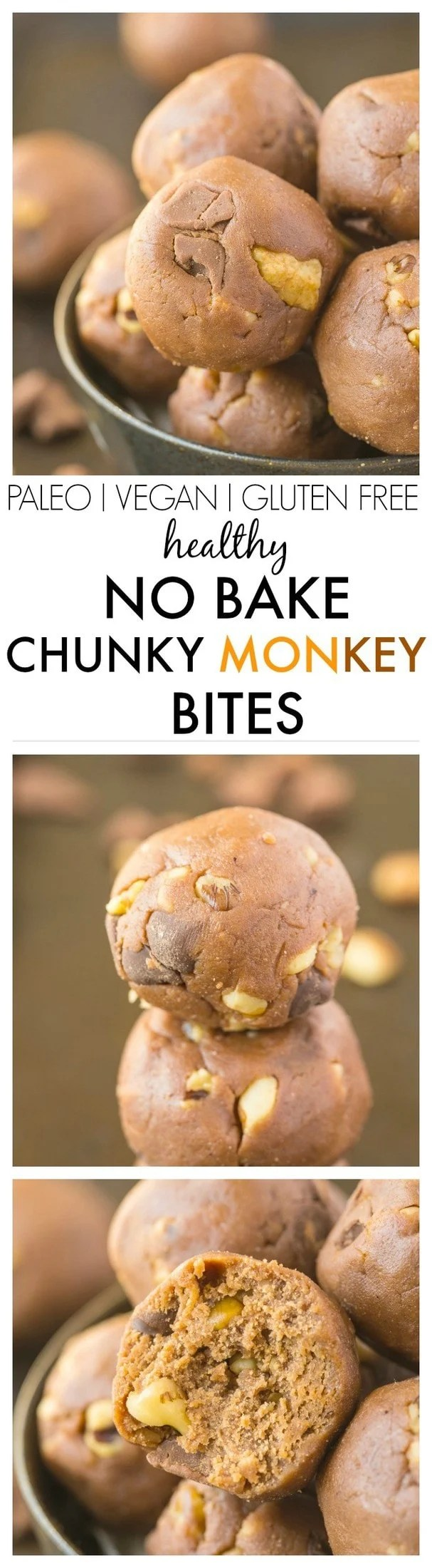 No Bake Chunky Monkey Bites which are the perfect snack recipe which tastes anything but healthy- But they are! Ready in 5 minutes! {vegan, gluten free, paleo, high protein recipe}