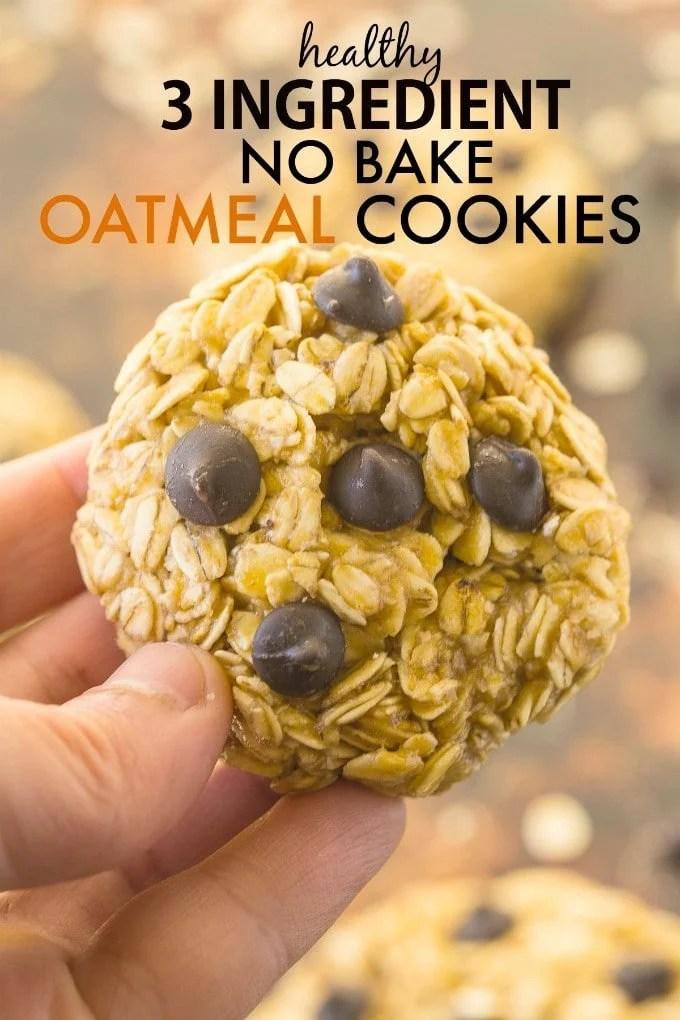 Healthy 3 Ingredient No Bake Oatmeal Cookies