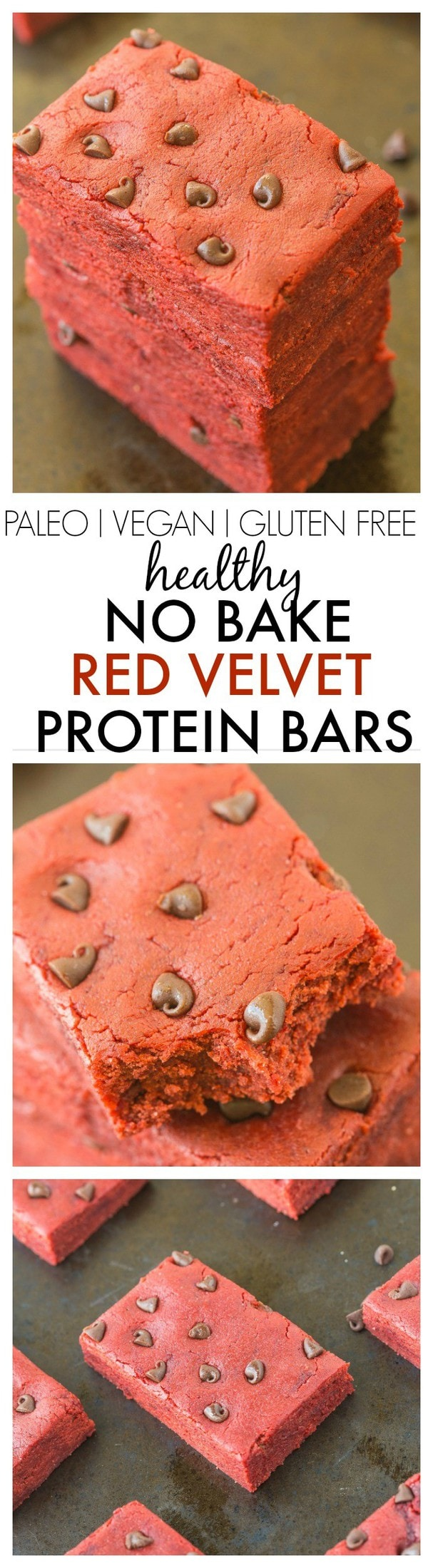 Healthy No Bake Red Velvet Protein Bars- 10 minutes and 1 bowl to make these extra chewy, soft and delicious snack bars- No added sugar too! {vegan, gluten free, paleo, sugar free recipe}- thebigmansworld.com