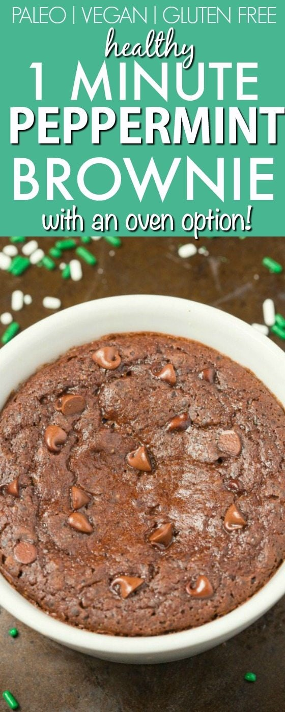 Healthy ONE MINUTE Peppermint Chocolate Brownie Mug Cake- Light, fluffy and tender- Made with NO butter, it's oil free, sugar free and low calorie! Oven option too! {vegan, gluten free, paleo recipe}- thebigmansworld.com
