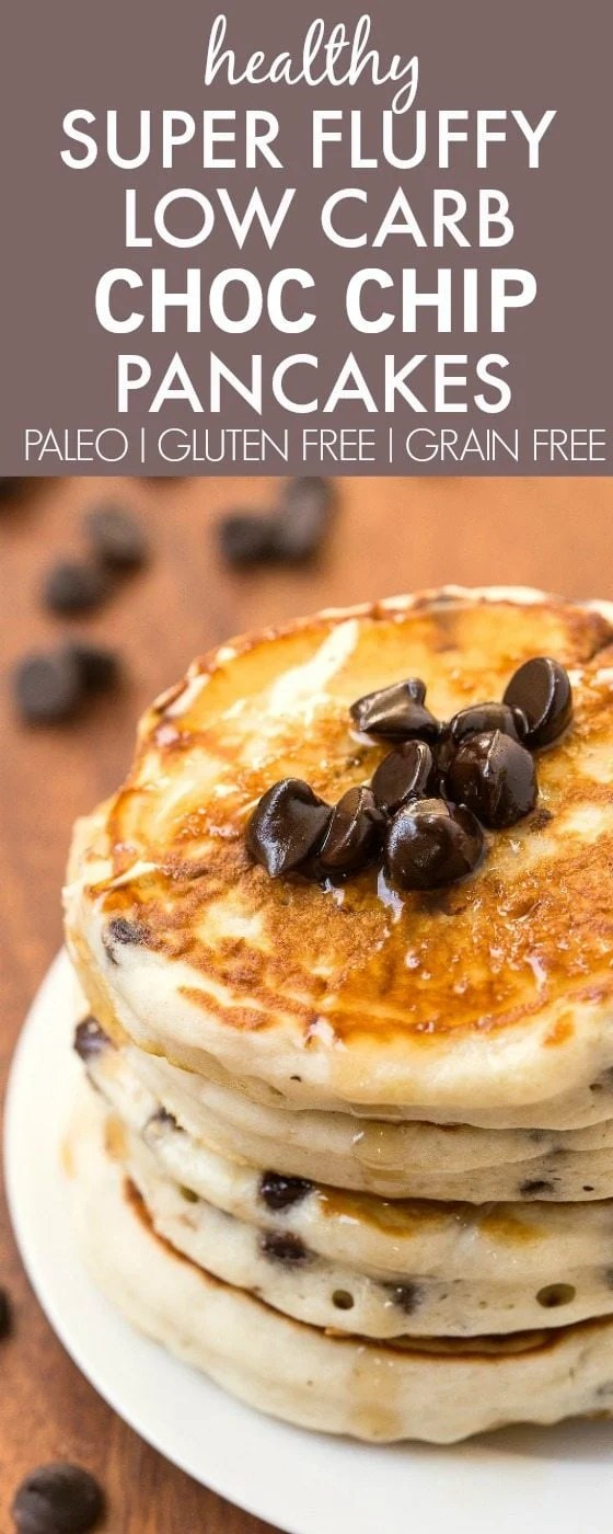 Healthy Thick and Fluffy Low Carb Pancakes with chocolate chips- Packed with protein but with NO protein powder- Low calorie too! {vegan, gluten free, paleo recipe}- thebigmansworld.com