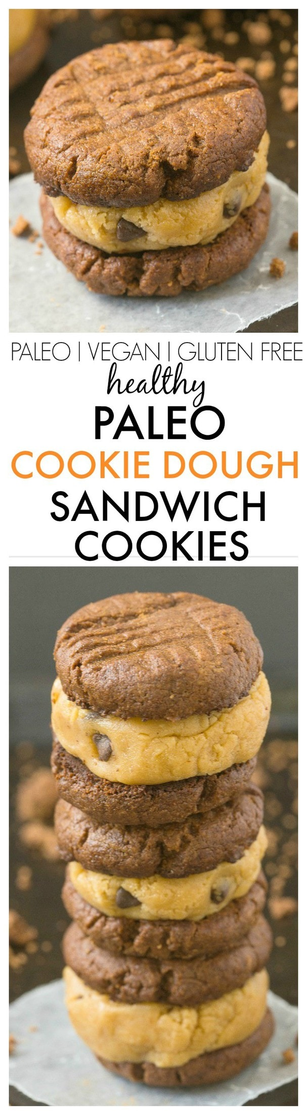 Healthy Paleo Cookie Dough Sandwich Cookies- Delicious, creamy cookie dough sandwiched between two grain free cookies- NO butter, oil, grains or white sugar at all! {vegan, gluten free, paleo recipe}- thebigmansworld.com