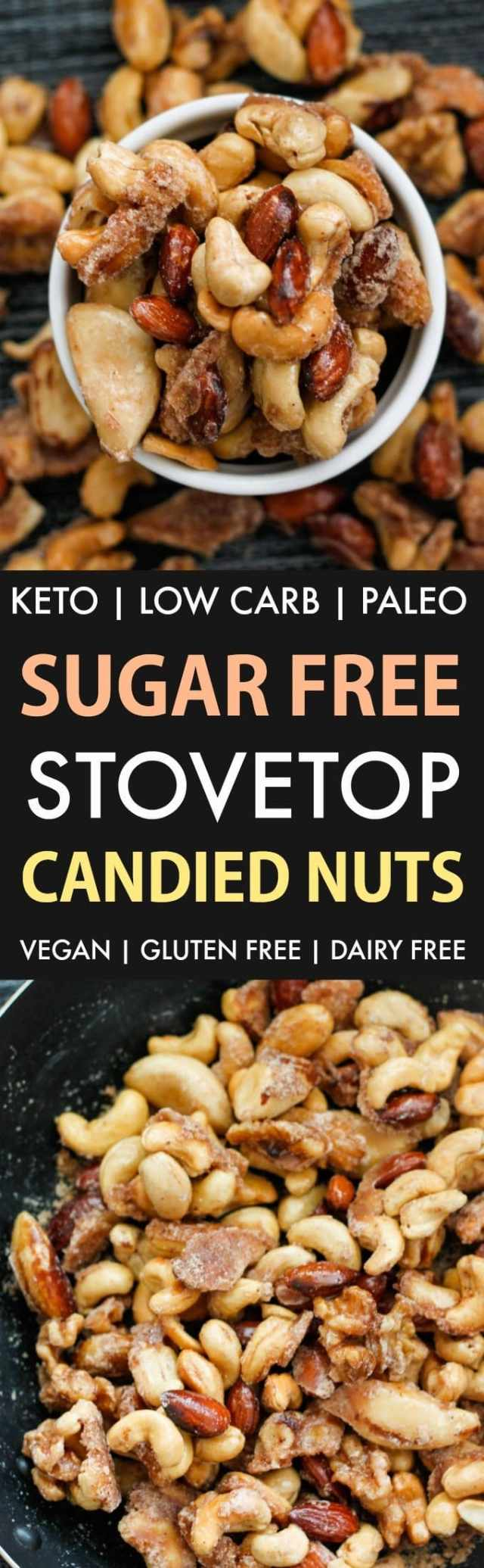 Sugar-Free Stovetop Candied Nuts (Keto, Low Carb, Paleo)- Stovetop made candied nuts made with zero sugar or oil- Perfect for holidays, gifts and every day guilt-free snacking! {vegan, gluten free, dairy free recipe}- #nuts #sugarfree #lowcarb #ketodessert | Recipe on thebigmansworld.com