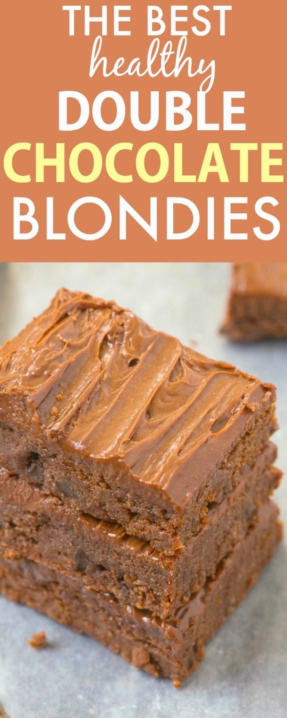 The BEST (secretly healthy!) Double Chocolate Blondies made with NO butter, oil, grains or white sugar! Ready in minutes and diet friendly! {vegan, gluten free, paleo recipe}- thebigmansworld.com
