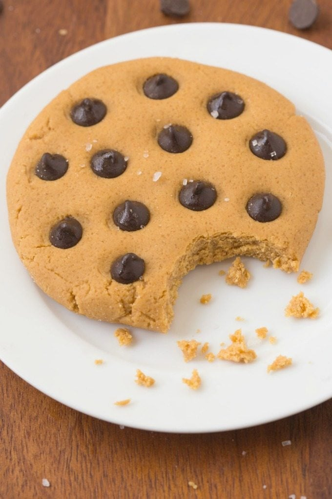 Healthy 3 Ingredient No Bake LOW CARB Cookie for ONE- Ready in less than 5 minutes, it's packed with protein and barely any carbs and tastes great! {vegan, gluten free, paleo recipe}- thebigmansworld.com