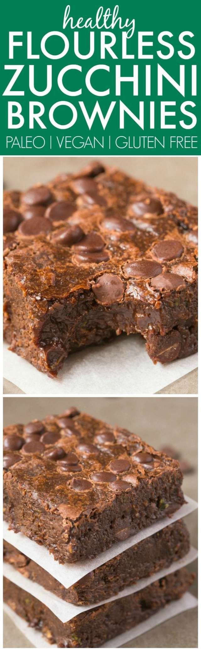 Healthy FLOURLESS Zucchini Fudge Brownies made with NO butter and NO flour and ridiculously easy- Hands down, BEST brownies ever! {vegan, gluten free, paleo recipe}- thebigmansworld.com