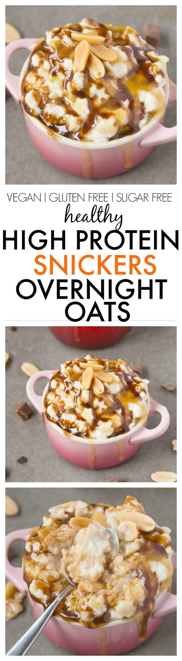 Healthy High Protein Snickers Overnight Oats- Easy, delicious and totally dessert for breakfast but with NO sugar or nasties! It tastes just like a snickers bar! {vegan, gluten free, sugar free recipe}- thebigmansworld.com
