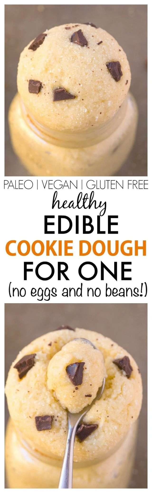 Healthy Edible EGG FREE Cookie Dough for ONE- This smooth, creamy, single serve dessert or snack has NO butter, sugar, grains or beans but tastes amazing- So easy too! {vegan, gluten free, paleo recipe}- thebigmansworld.com