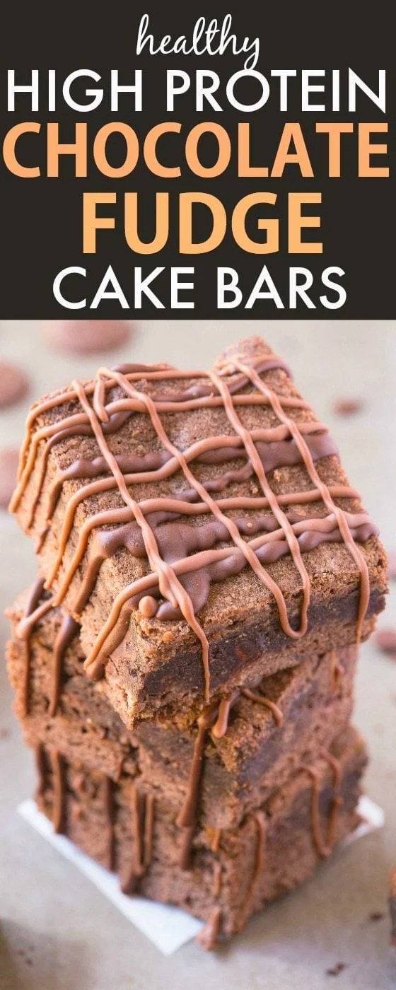Healthy Chocolate Fudge Cake Bars which are PACKED with protein! Made with NO butter, oil, flour or sugar but taste like dessert- A healthy snack, dessert or lunch box treat! {gluten free, grain free, paleo recipe}- thebigmansworld.com