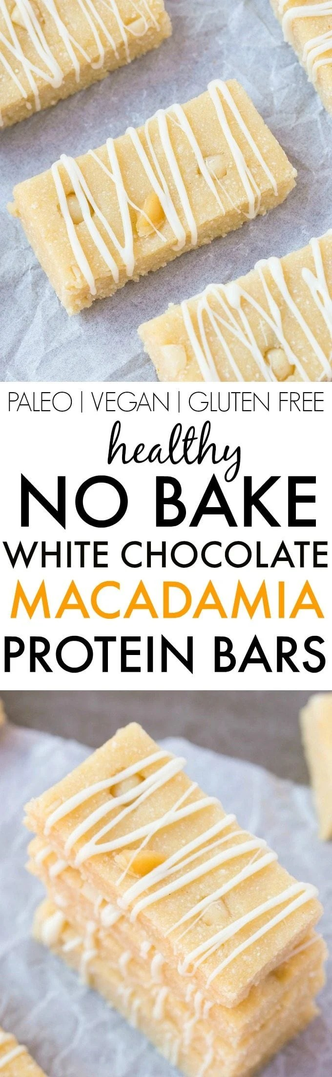 Healthy No Bake White Chocolate Macadamia Nut Protein Bars- Quick, easy and simple no cook recipe which tastes like dessert (and better than store bought!)- Portable, fudgy and ready in under 10 minutes! {vegan, gluten free, paleo recipe}- thebigmansworld.com