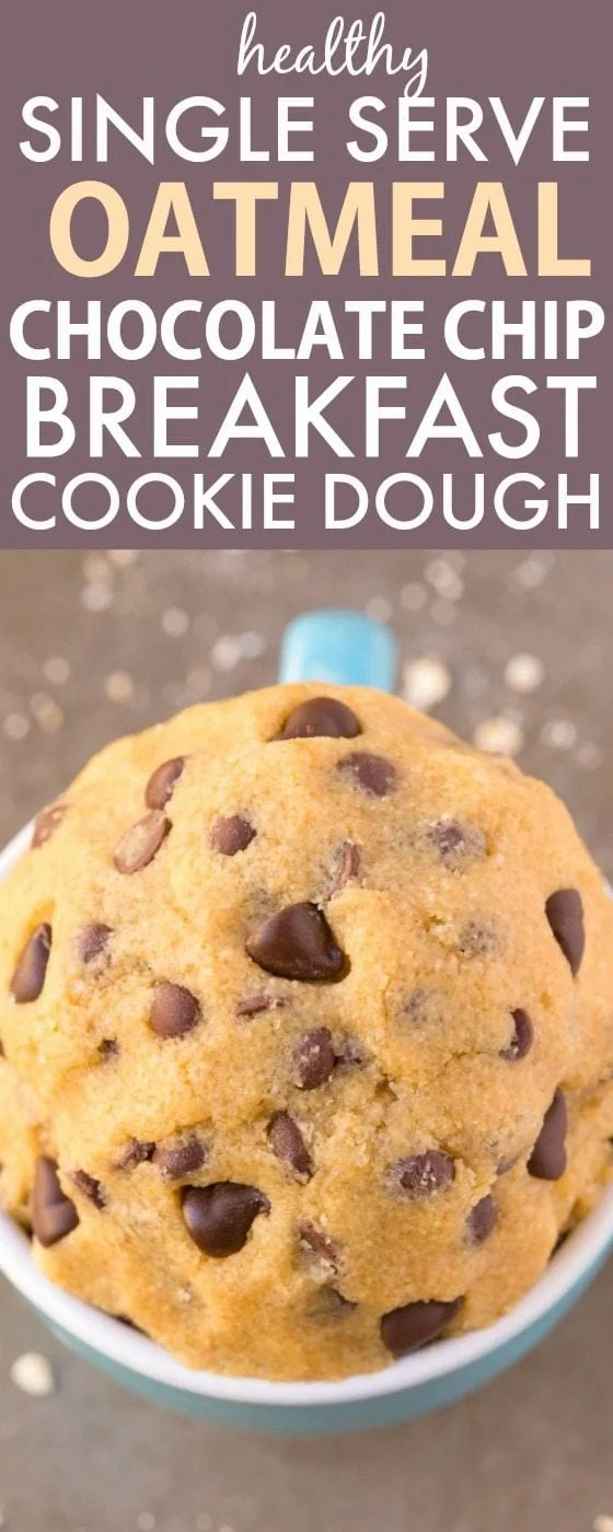 Healthy SINGLE SERVE Oatmeal Chocolate Chip BREAKFAST Cookie Dough- NO eggs, flour, white sugar, butter or dairy and 100% acceptable for breakfast! Quick, easy and sinfully nutritious! Single Serving! {vegan, gluten free, dairy free recipe}- thebigmansworld.com