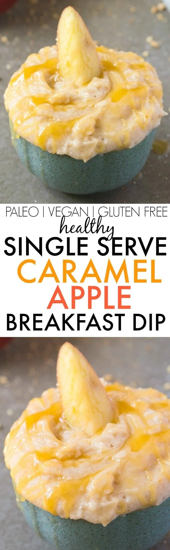 Healthy Single Serve Caramel Apple BREAKFAST Dip- Thick, creamy and secretly healthy, it's packed with protein and perfectly portioned- You just need a spoon! A quick and easy breakfast, snack or clean eating dessert flavored with caramel and apple pie spice! {vegan, gluten free, paleo, sugar free recipe}- thebigmansworld.com