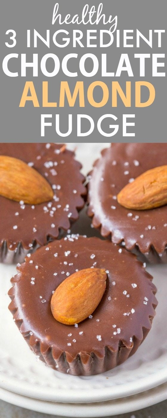 Healthy THREE Ingredient Chocolate Almond Fudge- Smooth, creamy and melt in your mouth fudge bites which takes minutes to whip up- So quick and easy! Naturally sweetened and with NO butter, NO dairy, NO refined sugar and NO flour! {vegan, gluten free, clean eating, paleo recipe}- thebigmansworld.com