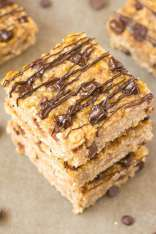 Healthy 3 Ingredient FLOURLESS Banana Bread Bars- Thick, chewy and tasting JUST like banana bread, they are tender on the outside and slightly gooey and soft on the inside- Made with NO butter, flour, oil, sugar or dairy! A quick, easy, nut-free and delicious three ingredient snack, dessert or breakfast! {vegan, gluten free, sugar free recipe}- thebigmansworld.com