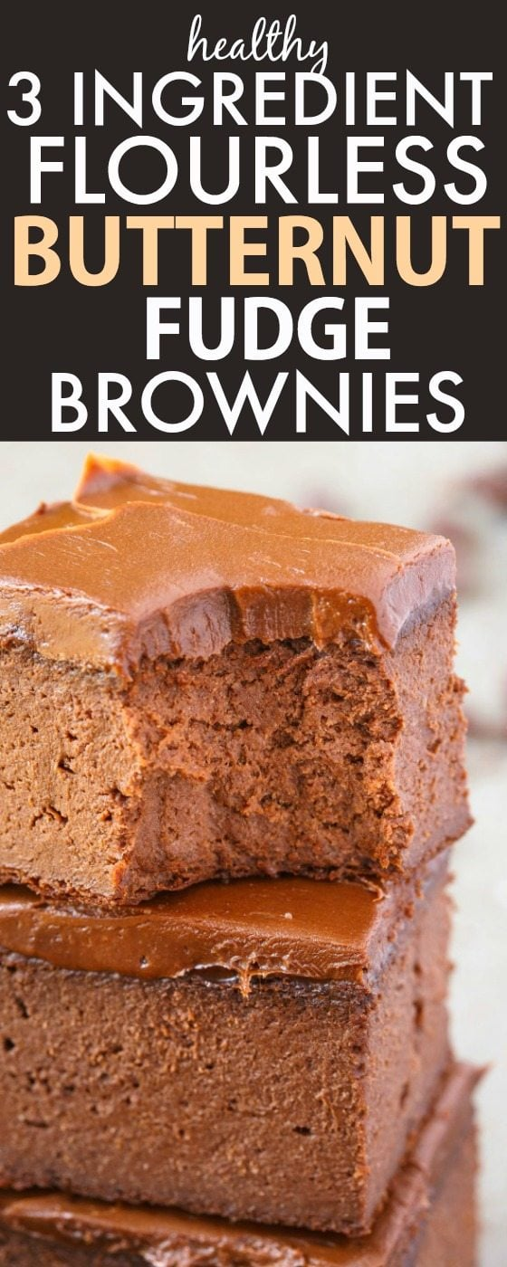 Healthy 3 Ingredient FLOURLESS Butternut Squash Fudge Brownies- SO easy, simple and fudgy, only three ingredients! NO butter, NO flour, NO sugar, NO grains and NO oil needed at all! You can use fresh squash or canned squash! {vegan, gluten free, paleo recipe}- thebigmansworld.com