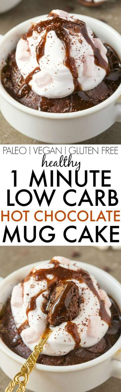 Healthy 1 Minute LOW CARB Hot Chocolate Mug Cake- this EASY, HEALTHY microwave recipe takes less than a minute and is eggless, flourless and 100% DELICIOUS! {vegan, gluten free, paleo recipe}- thebigmansworld.com