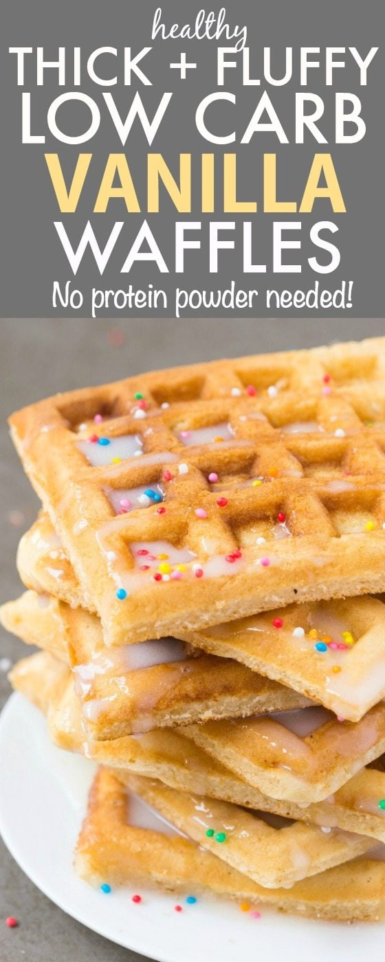 Healthy THICK & FLUFFY Low Carb Vanilla Waffles- Packed with protein but with NO protein powder, these no-mess, no-fuss waffles have NO grains, NO butter, NO oil and ZERO sugar- Perfect to LOAD with toppings! {vegan, gluten free, paleo, sugar free recipe}- thebigmansworld.com