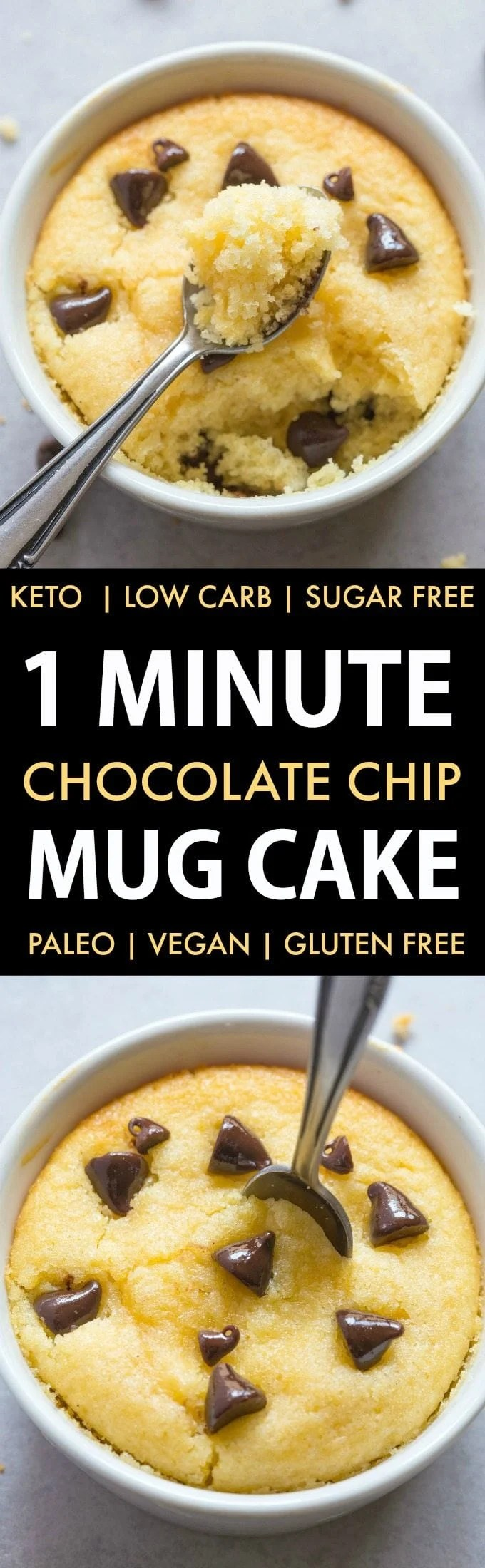 1 Minute Low Carb Chocolate Chip Mug Cake (Keto, Sugar Free, Paleo, Vegan, Gluten Free)- An easy recipe for a light and fluffy mug cake muffin ready in a minute or with an oven option too- NO grains and NO sugar! #ketodessert #keto #paleo #vegan #dairyfree #sugarfree | Recipe on thebigmansworld.com